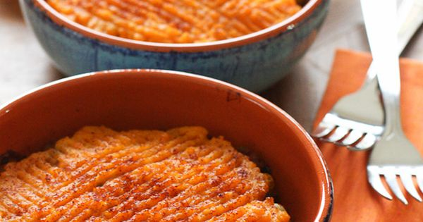 Sweet Potato Turkey Shepherd's Pie Recipe Main Dishes with sweet potatoes, garlic,