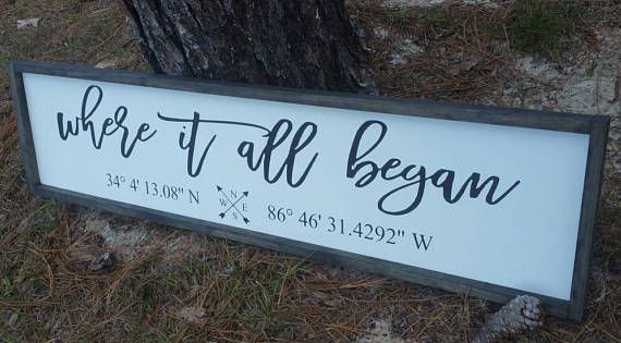 Latitude Longitude Sign Gps Coordinates Sign Custom Coordinates Where It All Began 5th Anniversary Gps Sign Latitude Longitude Custom Wooden Signs Personalized Signs