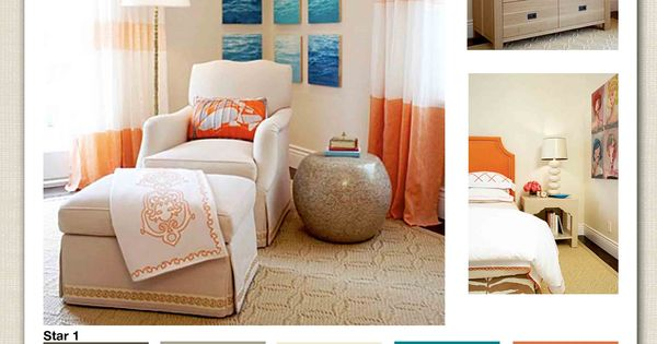 I LOVE the blue and orange color scheme here..and the pictures wrapping
