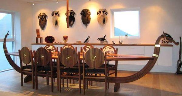 Viking ship dining room table barco vikingo rusticas y for Viking muebles