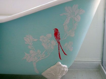 Stenciled Bathtubs Clawfoot Tub Stencils Stencil Painting