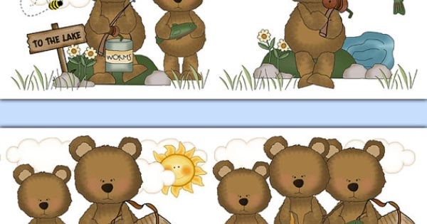 Fishing Teddy Bear wallpaper border wall decals for baby