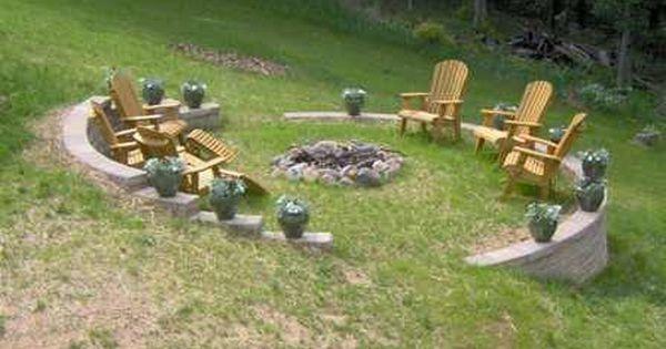 Sloped yard bonfire pit...   Garden/Landscape   Pinterest ...