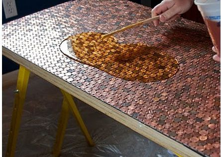 diy penny table top- but with bottle caps