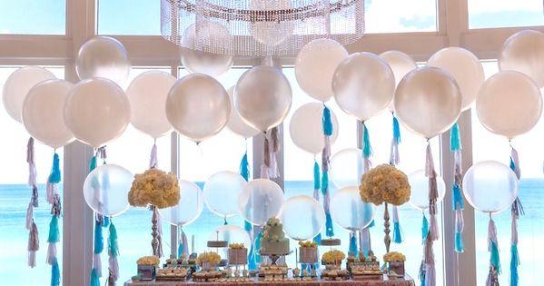 Elegant brit milah baby naming ceremony on kara 39 s party for Balloon decoration for naming ceremony