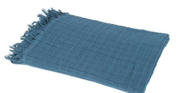 Harmony Plaid Canape Jete Lit Lin Coton Seoni Bleu Petrole 130x170 Cm Home Beddings And Curtains Couvre Lit Jete De Lit Lit Bleu