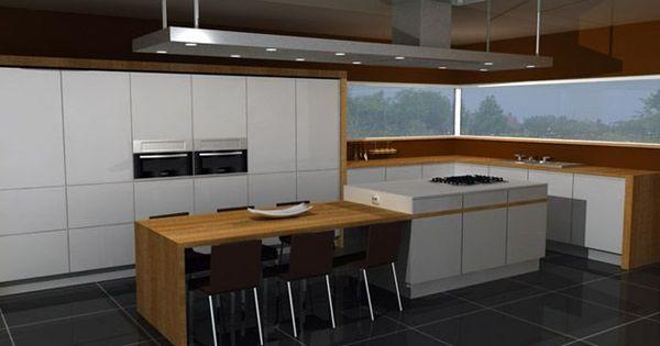 Keuken idee kookeiland met tafel google zoeken huis inspriratie pinterest keuken zoeken - Open keuken idee ...