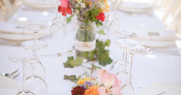 Centros de mesa para boda con hiedra y tarros de cristal - Mesas de cristal para bodas ...