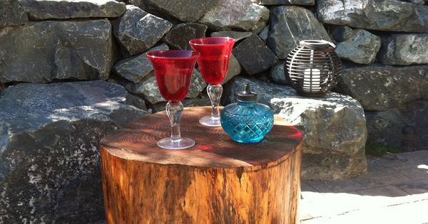 Tree Stump Patio Side Tables Backyard Sanctuary And
