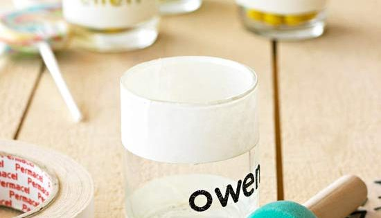 Personalized thrift store glasses! Spell out a name w/ stickers. Tape off