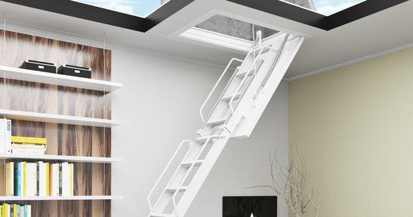 Escaleras plegables de altillo en chapa de acero y madera - Escaleras para altillos plegables ...
