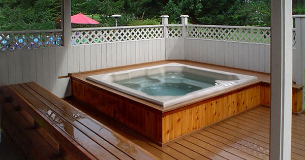built in hot tub for the home pinterest best hot tubs tubs and decking ideas. Black Bedroom Furniture Sets. Home Design Ideas
