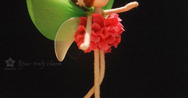 Orange Rose Flower Doll Green Fairy Miniature By
