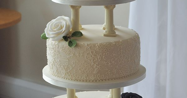 2 tier wedding cake with pillars 3 tier wedding cake with pillars piped lace and 10185