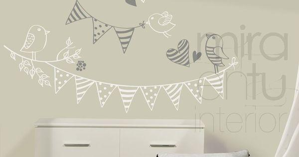 Vinilo banderines y p jaros vinilos decorativos para for Vinilos habitacion bebe baratos