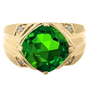 10k or 14k Solid Real Gold Oval Simulated Emerald May Birthstone CZ Ring Jewelry