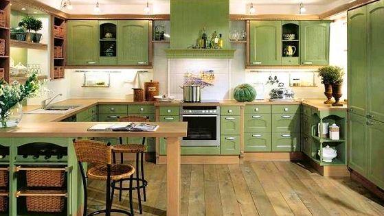 Mueble de cocina con color fuerte verde ideas para el - Muebles de cocina de colores ...