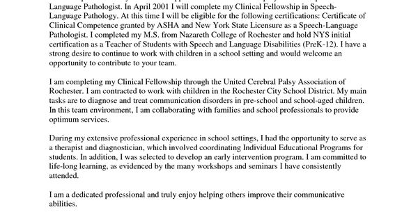cover letter for speech language pathologist assistant