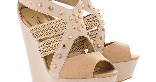 Timeless Echo Nude Studded Wedges Polyvore Shoes