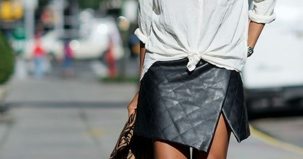 Quilted leather skirt+ a crisp white shirt: love