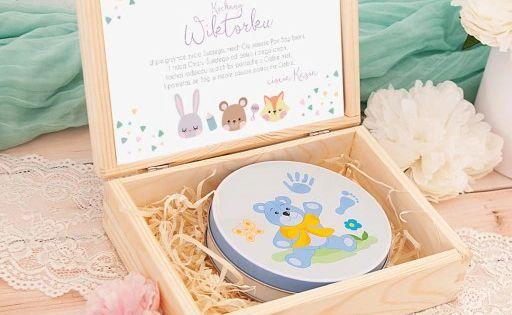 Pamiatka Chrztu Skrzynka Z Odcisk Bobasa Chlopiec Decorative Boxes Baby Items Decorative Tray