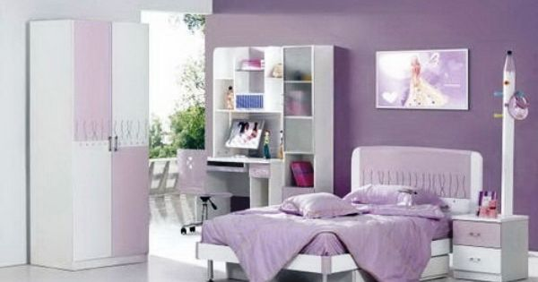 desain kamar tidur anak perempuan ungu minimalis dekor n