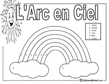 L Arc En Ciel To Color In French Pour Colorer Free French Colors Teaching French French Lessons