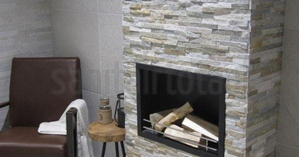 Natuursteen steenstrips tegelstroken woonkamer trends ideeen inspiratie tegels haard - Imitatie natuursteen muur tegel ...