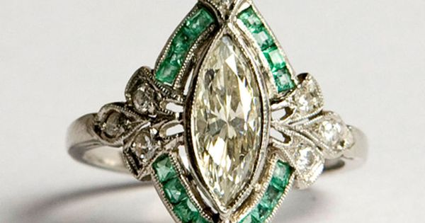 French 1930s art deco diamond and emerald ring