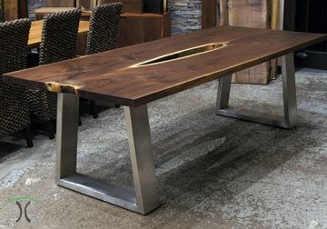 Live Edge Walnut Dining Table With Our Original Modern And Substantial Industrial Style Trape Stainless Table Walnut Dining Table Live Edge Walnut Dining Table