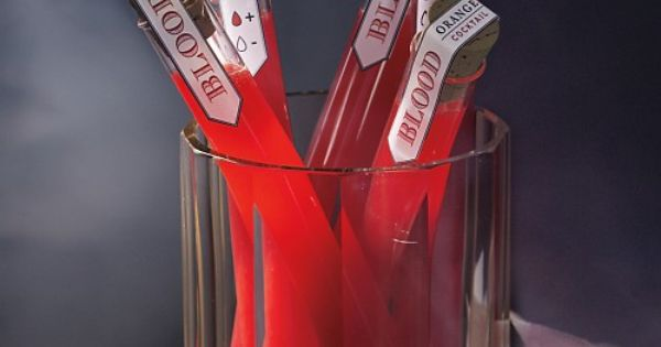 Boozy Blood Orange Cocktails in Test Tubes for a Halloween Party!