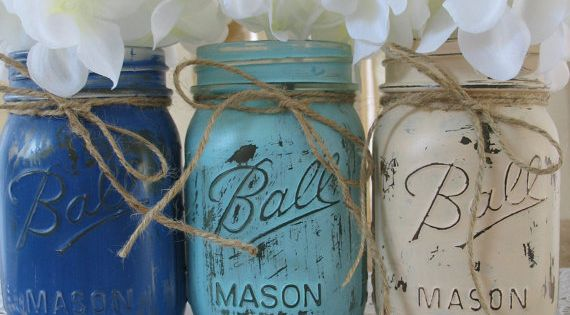 Mason Jars, Painted Mason Jars, Rustic Wedding Centerpieces, Baby Shower Decorations, Dark Blue, Light Blue And Creme Mason Jars on Etsy, $24.00 - I like the center one, i like the idea of that that color