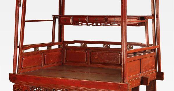 Bellissimo antico letto cinese a baldacchino un pezzo - Letto a baldacchino antico ...