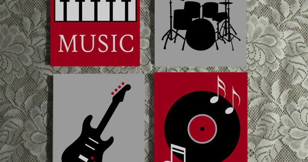 Music Themed Wall Art Hand Painted Canvas Music Room