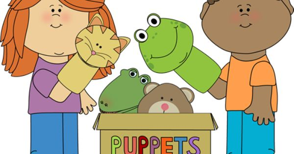 Kids Playing With Puppets From Mycutegraphics Kids Clipart Kids Playing Clip Art
