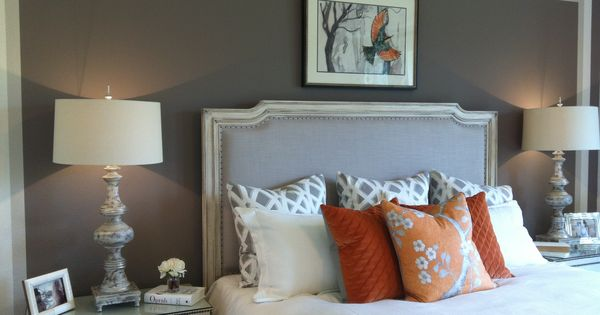 Love The Grey Paint White Quilt Orange Accents Master Bedroom Master Bedroom Ideas
