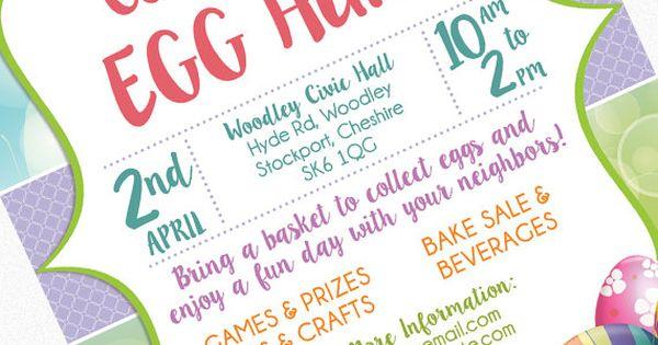 easter egg hunt flyer invitation poster template church school community goods sale flyer. Black Bedroom Furniture Sets. Home Design Ideas