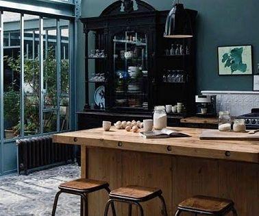 la cuisine bleu on l 39 adore cuisines industrielles verri re et industriel. Black Bedroom Furniture Sets. Home Design Ideas