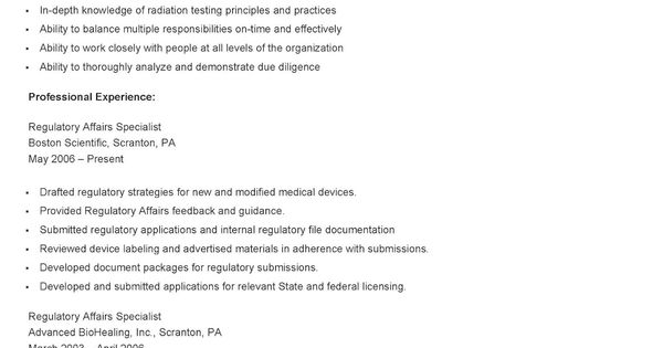 sample regulatory affairs specialist resume