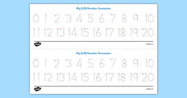 number formation tracing strips 0 20 twinkl maths pinterest. Black Bedroom Furniture Sets. Home Design Ideas