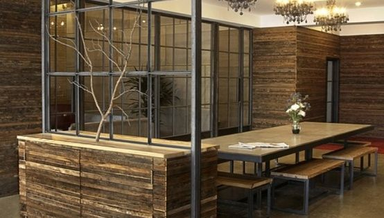 Wood And Metal Wall Divider Open Concept Without Closing Space Industrial Office Decor