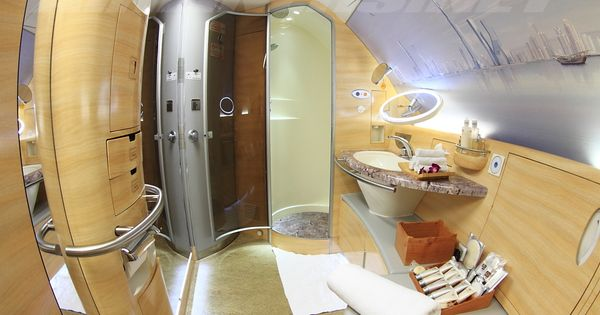 Emirates A380 first class bathroom, including a shower ...