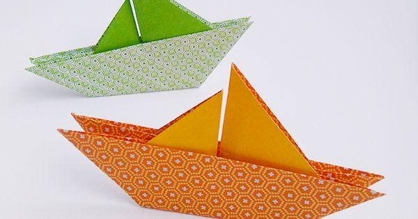 Un voilier en origami simple comme bonjour bateaux en papier et le bateau - Fabriquer un bateau en papier ...