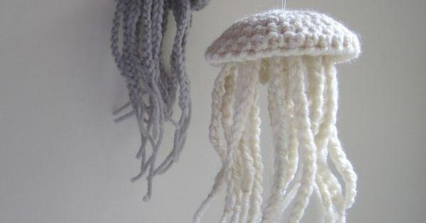 Medium Moon Jellyfish Amigurumi in Unbleached White Merino Wool - Natural History