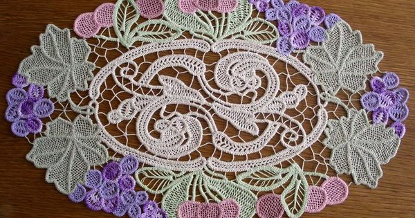 Beautiful colorful example of romanian point lace tape