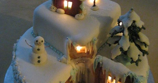 Winter Wonderland Cake ( using battery operated rice lights).. Wow! Fantasy winter
