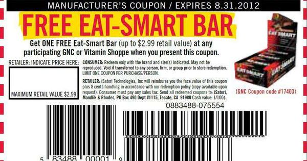 Pepboys Promo Code >> Get Free Eat-Smart Bar (up to $2.99 value) In-store Printable GNC Coupon   Printable Coupons ...