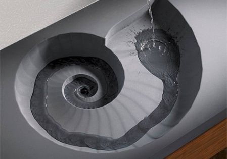 A cool spiral sink design in the shape of a nautilus shell.
