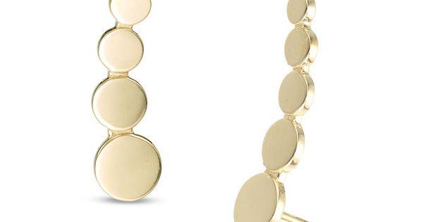 Graduated Disc Curved Crawler Earrings In 10k Gold Piercing Pagoda Crawlers Earrings Earrings 10k Gold