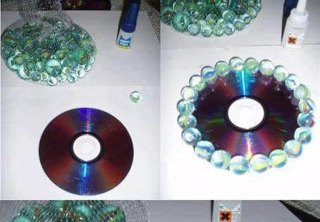 Got any old CD discs & some marbles? Easy DIY candle holder.